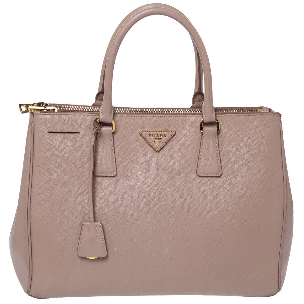 Prada Beige Saffiano Lux Leather Medium Double Zip Tote