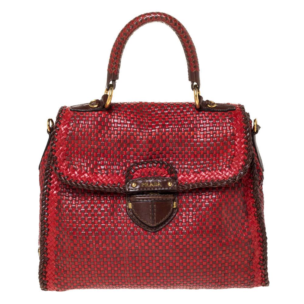 Prada Red/Brown Woven Leather Madras Top Handle Bag