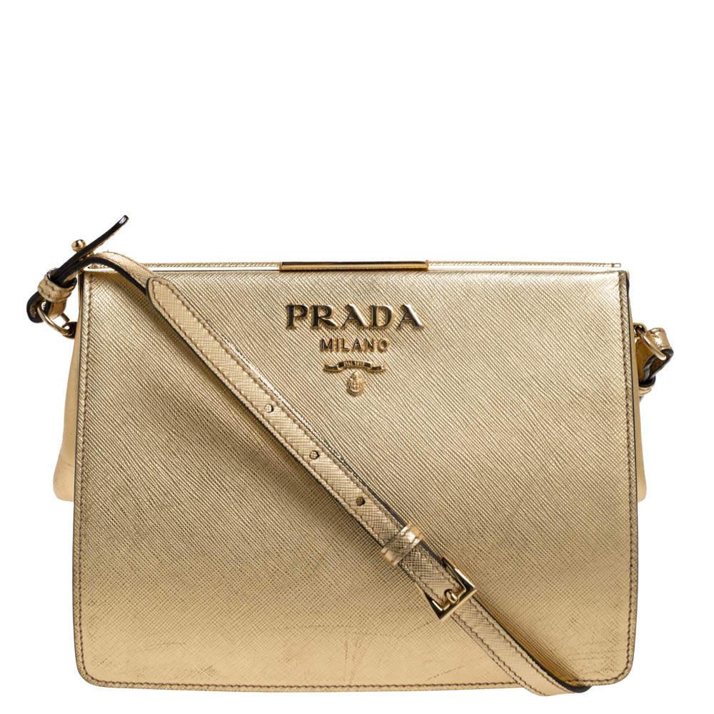 Prada Gold Saffiano Lux Leather Light Frame Shoulder Bag