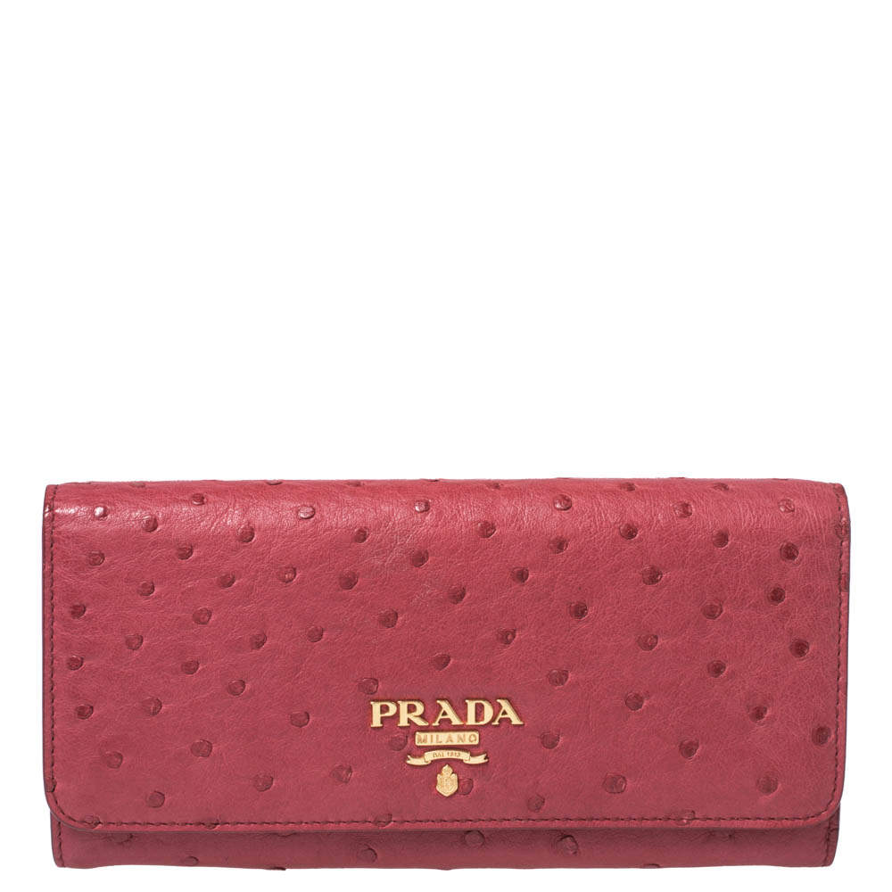 Prada Red Ostrich Leather Continental Wallet