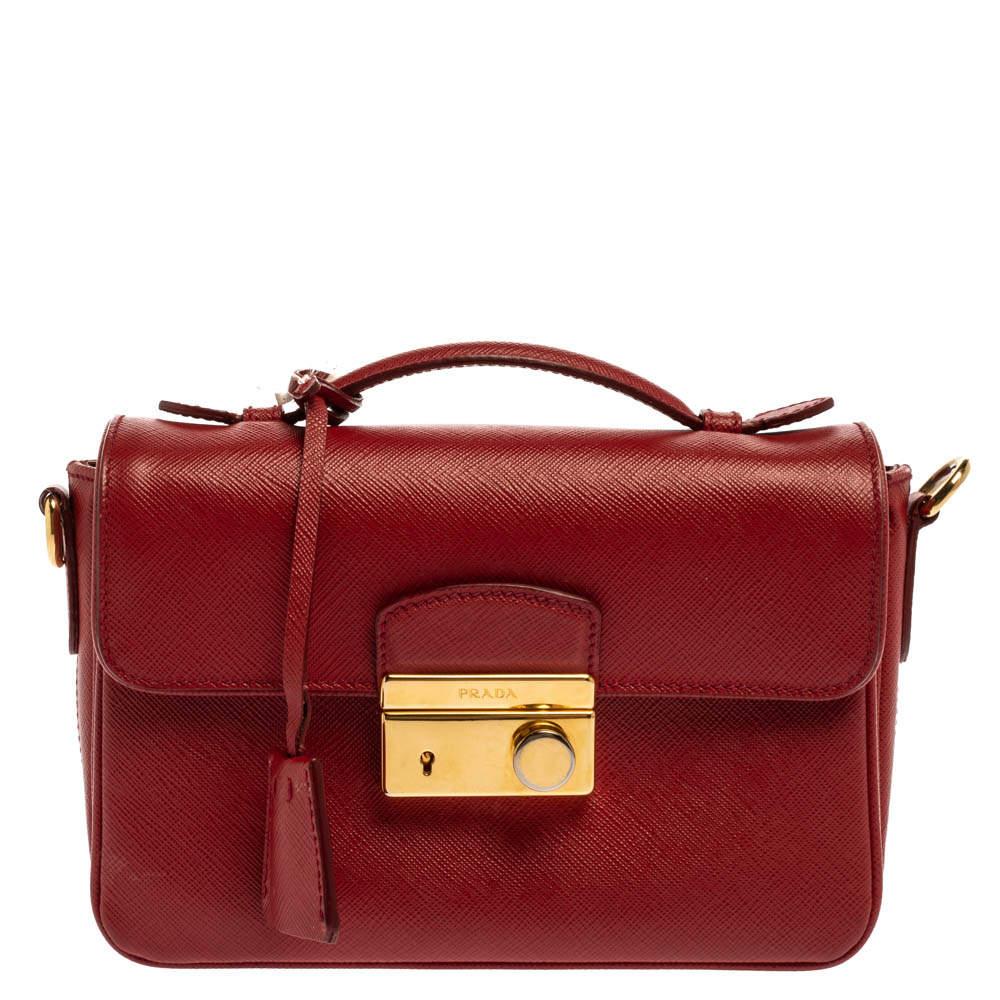 Prada Red Saffiano Leather Mini Sound Top Handle Bag