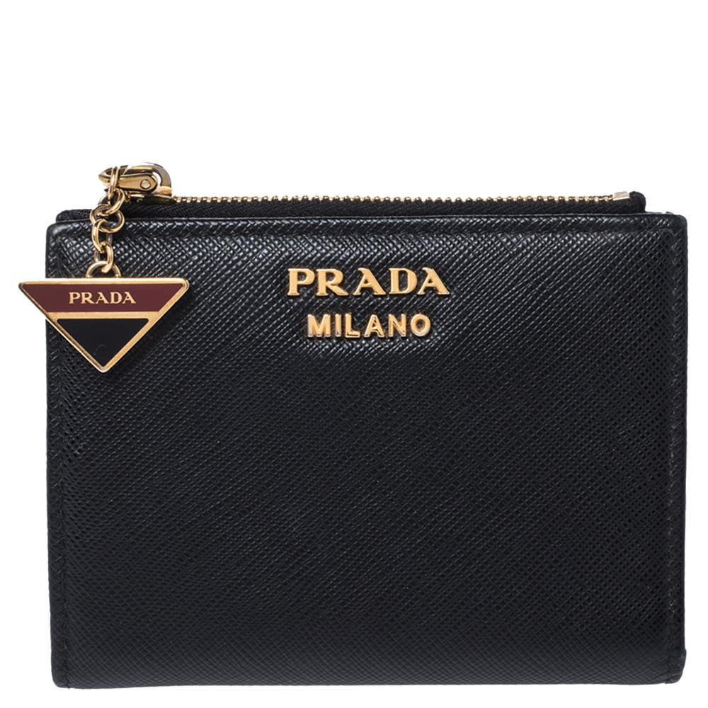 Prada Black Saffiano Lux Leather Compact Wallet
