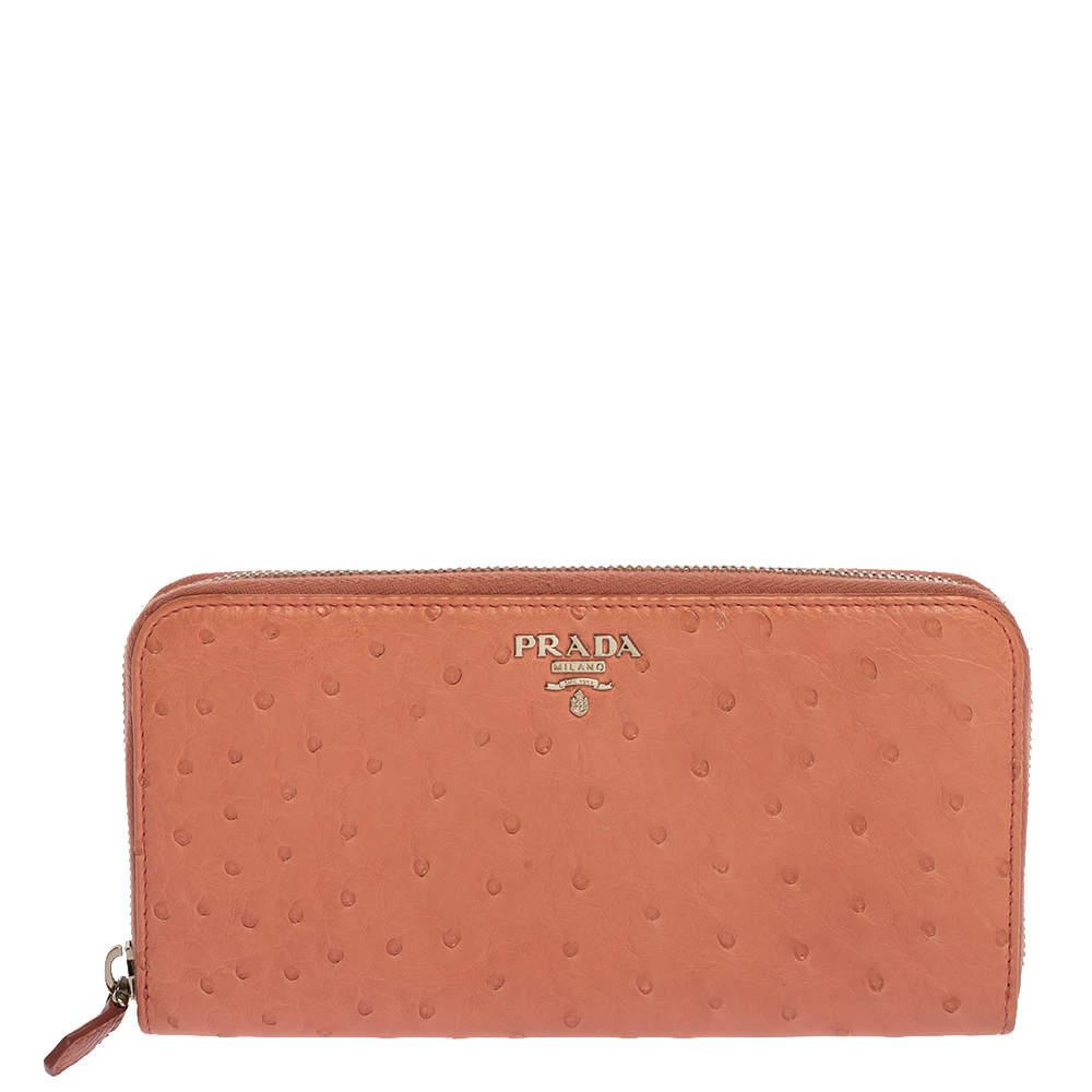 Prada Pink Ostrich Zip Around Continental Wallet