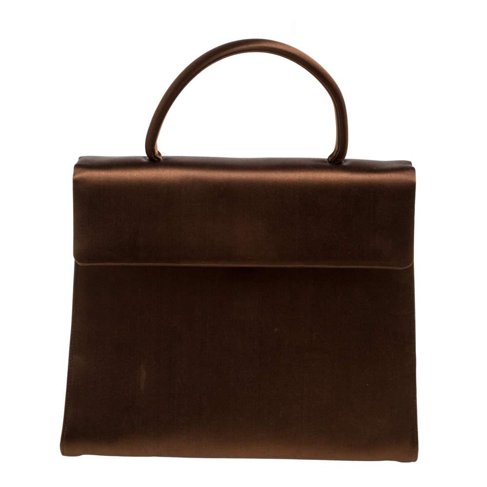 Prada Metallic Brown Satin Top Handle Bag