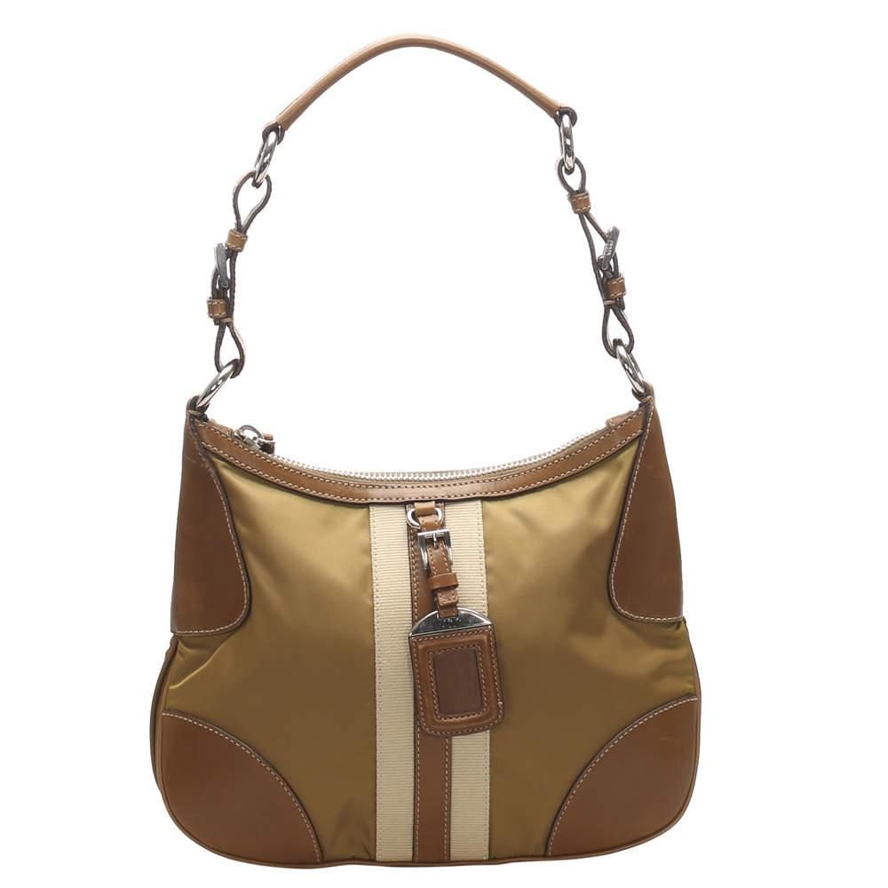 Prada Brown Leather trimmed Tessuto Bag