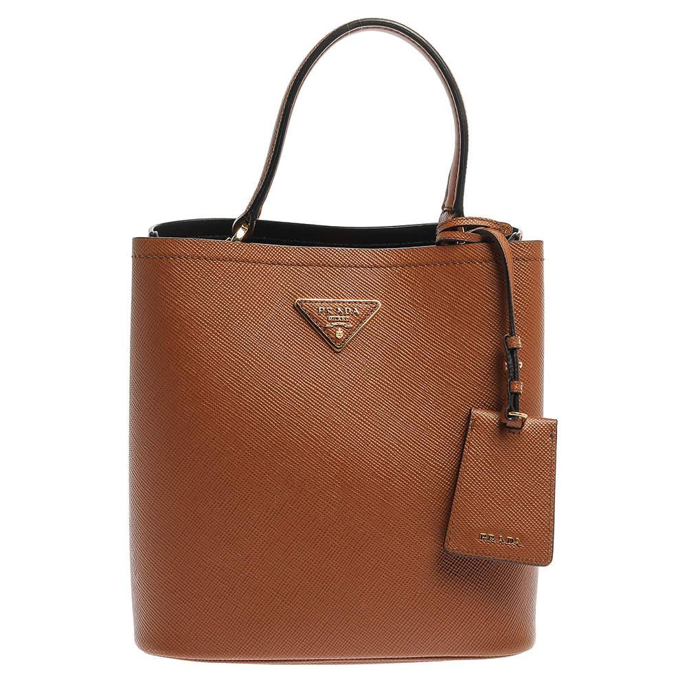 Prada Tan Saffiano Leather Medium Panier Top Handle Bag