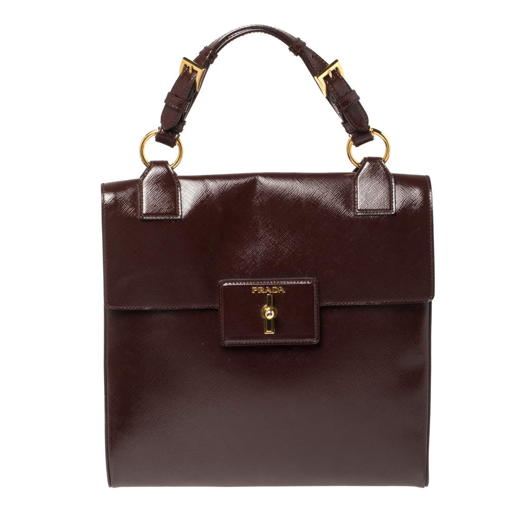 Prada Burgundy Patent Leather Flap Top Handle Bag