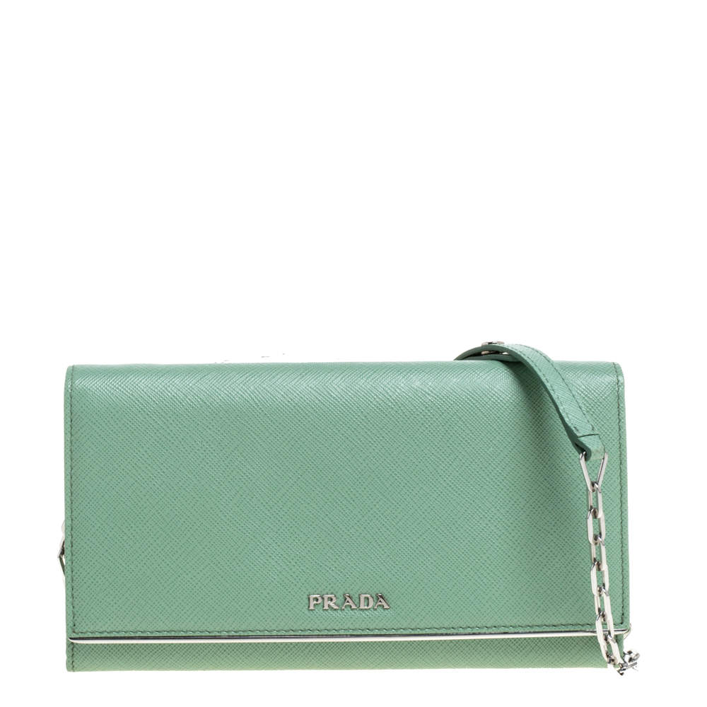 Prada Mint Green Saffiano Leather Wallet On Chain