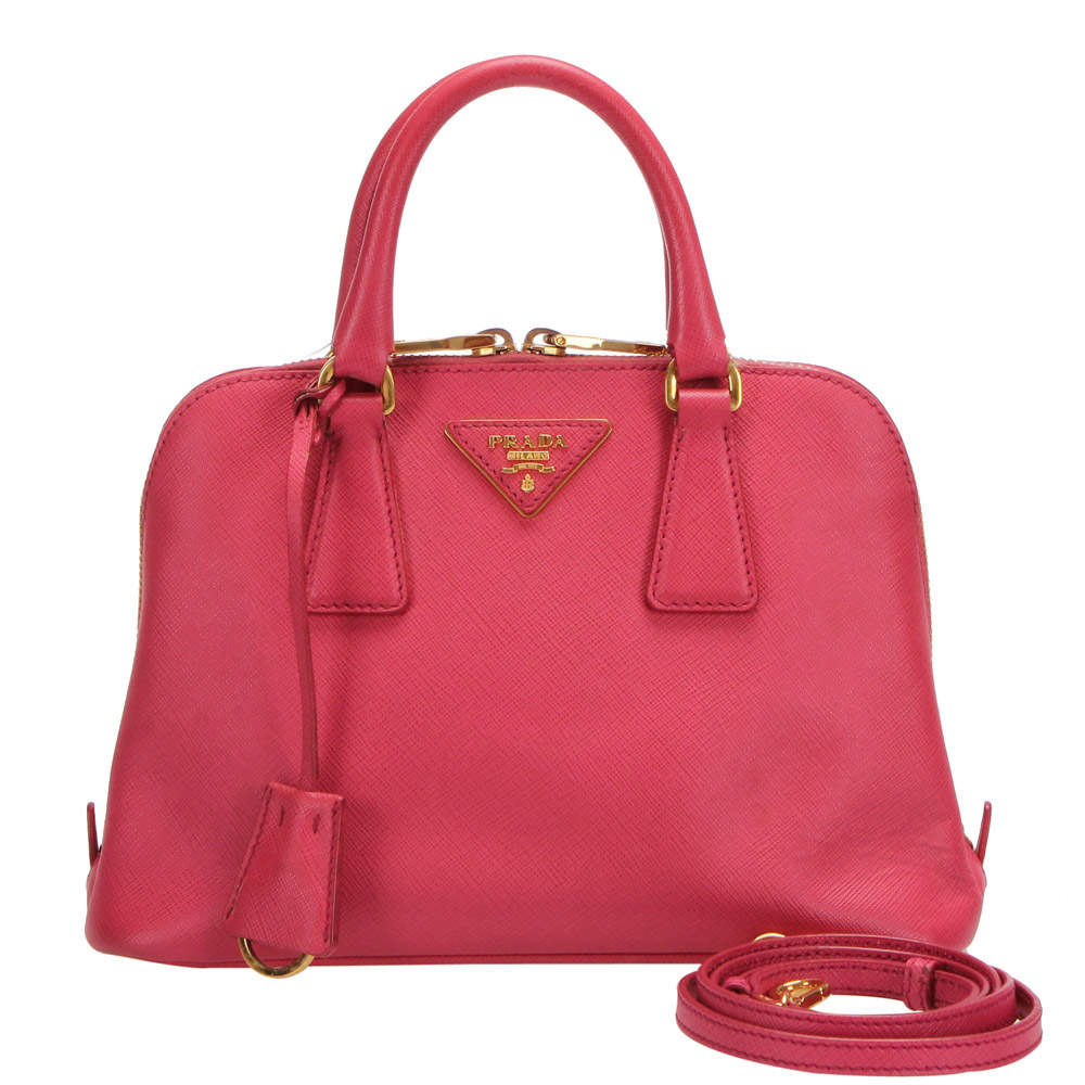 Prada Pink Saffiano Leather Promenade Satchel Bag