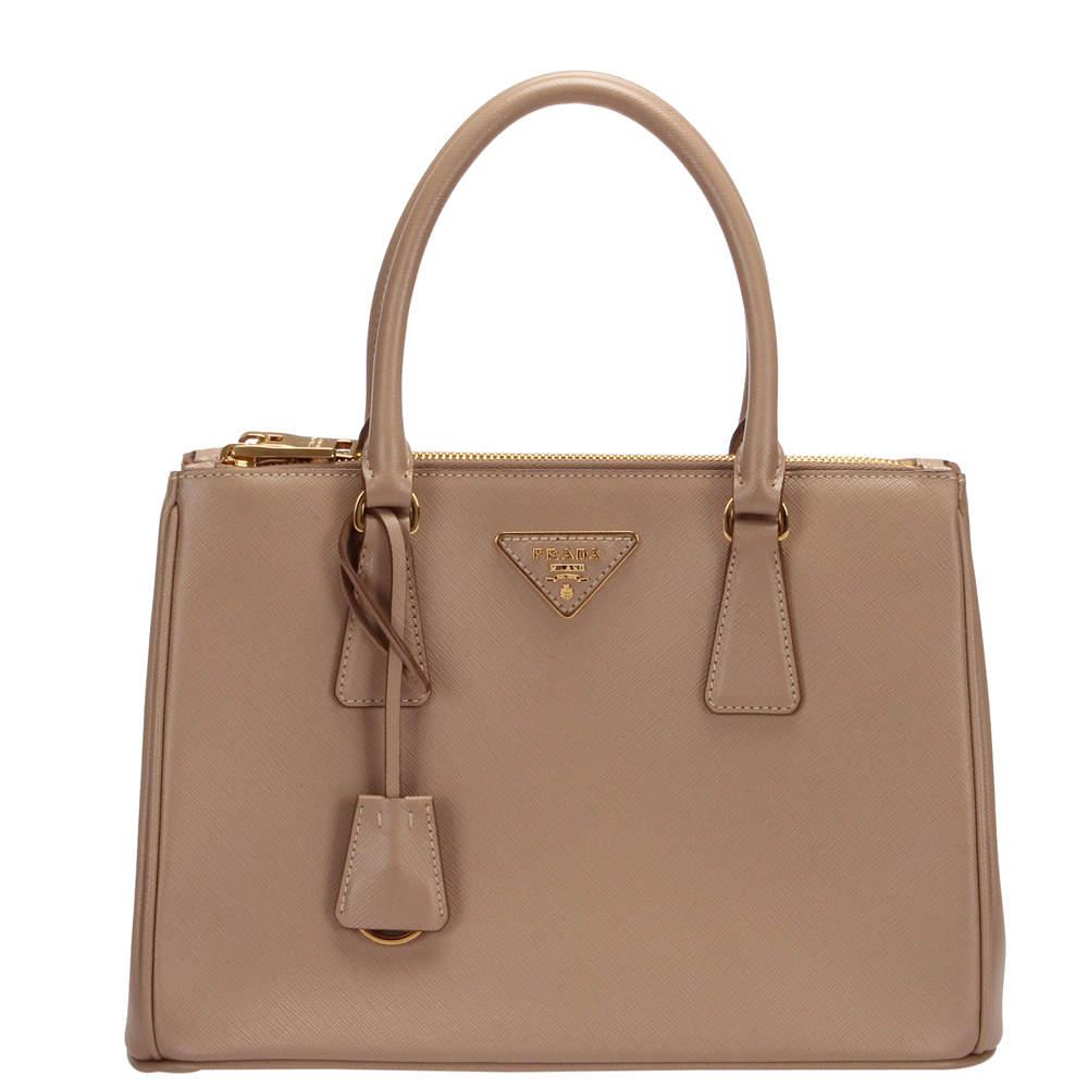 Prada Beige/Brown Leather Galleria Satchel Bag