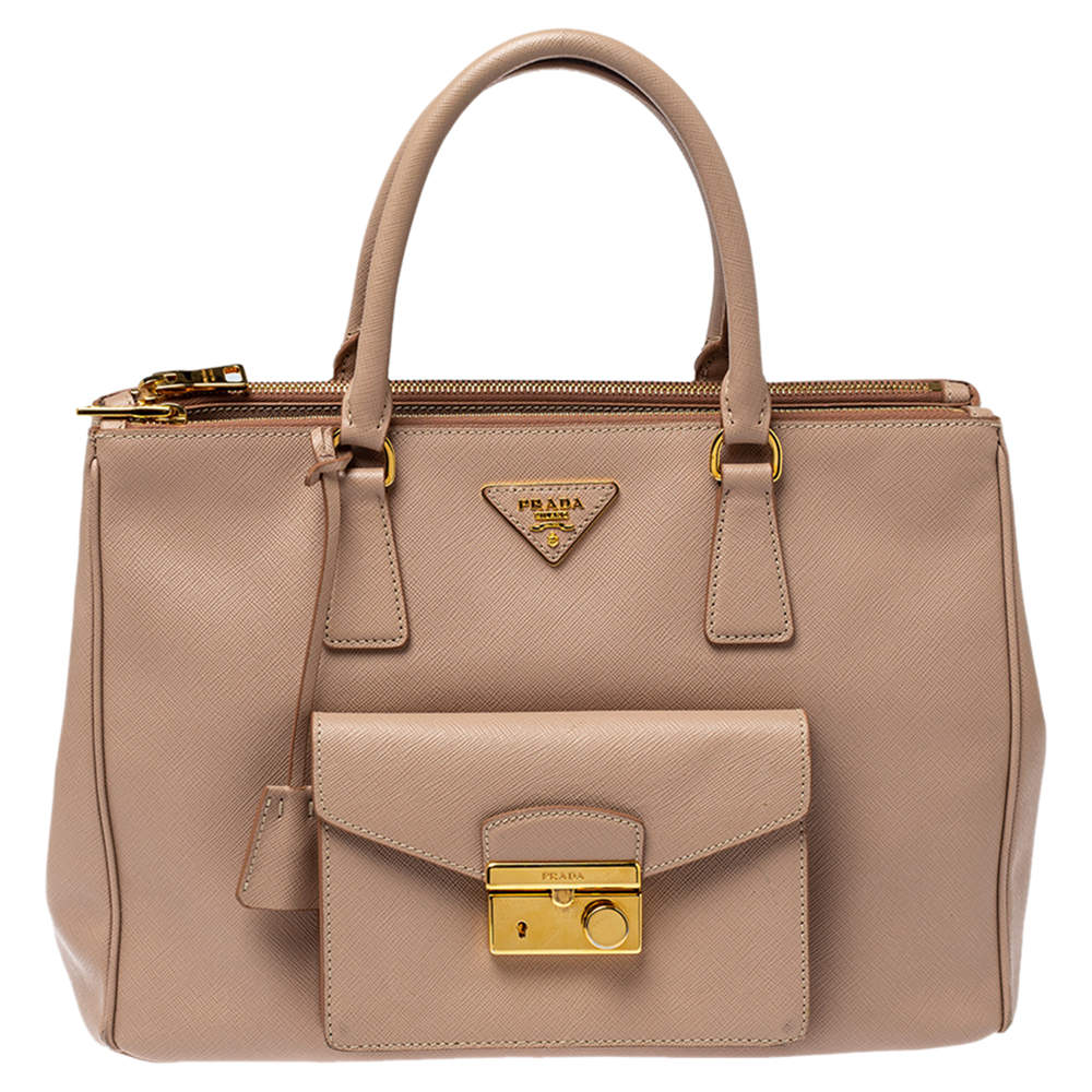 Prada Pink Saffiano Lux Leather Medium Front Pocket Double Zip Tote