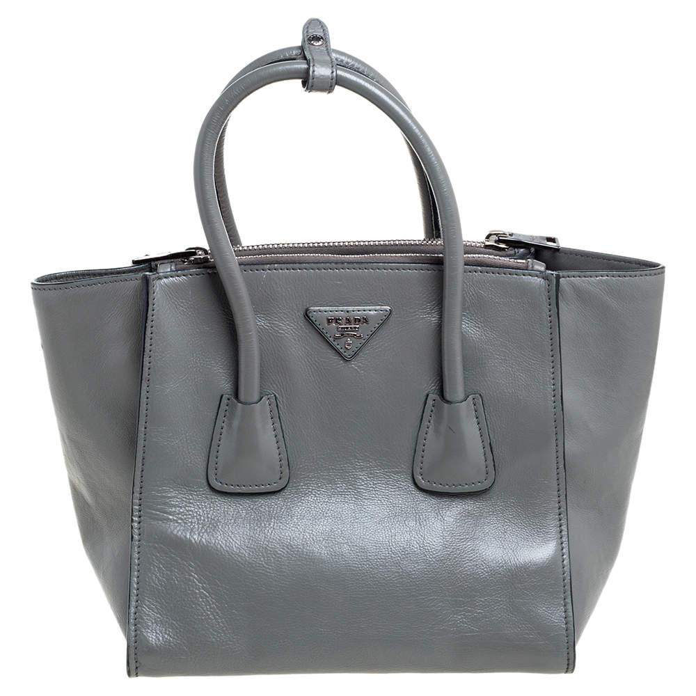 Prada Grey Glace Leather Twin Pocket Tote