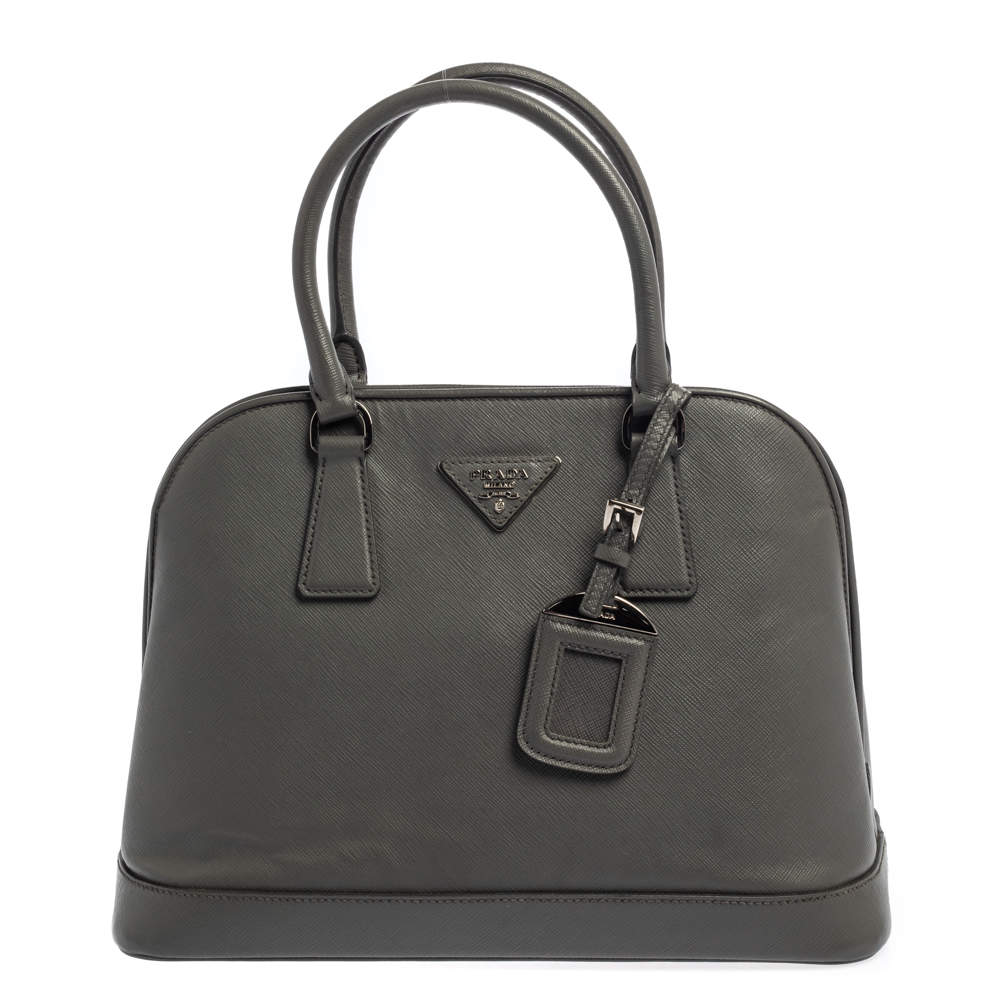 Prada Grey Saffiano Lux Leather Open Promenade Satchel