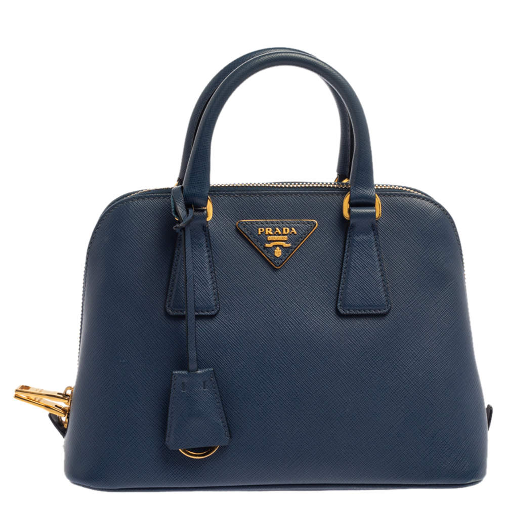 Prada Blue Saffiano Lux Leather Small Promenade Satchel