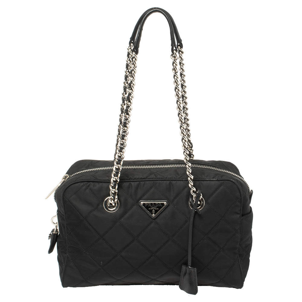 Prada Black Tessuto Impuntu Nylon Chain Satchel