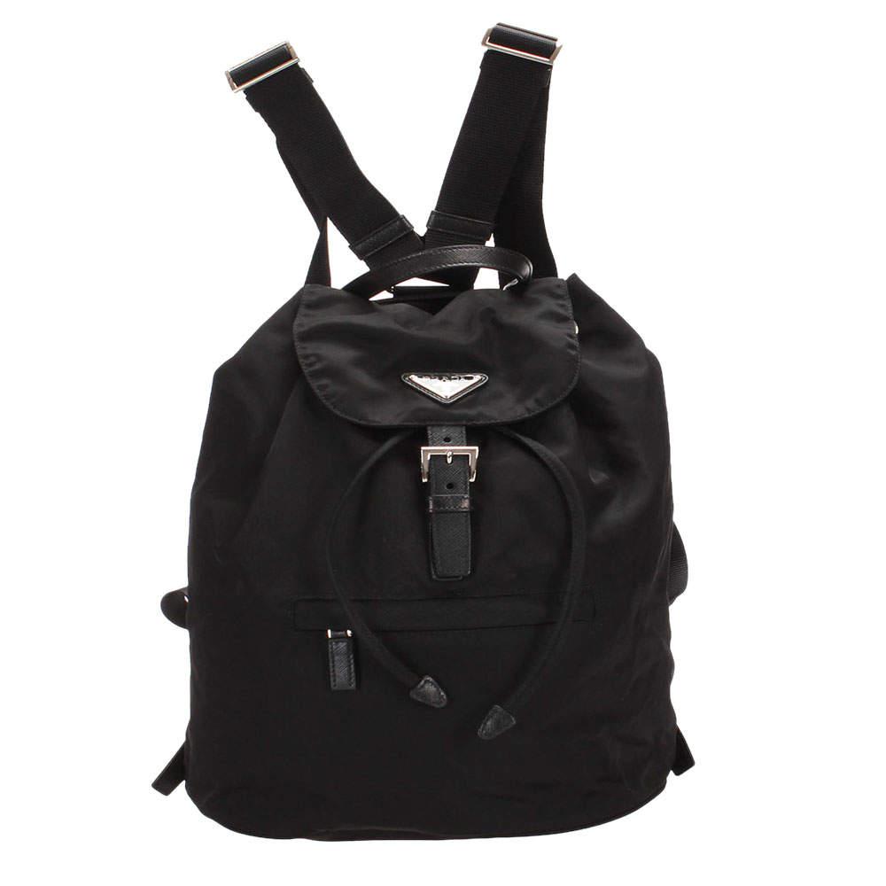 Prada Black Tessuto Drawstring Backpack