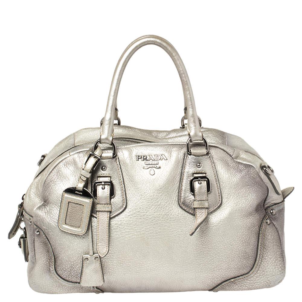 Prada Metallic Silver Cervo Antik Leather Bauletto Bag