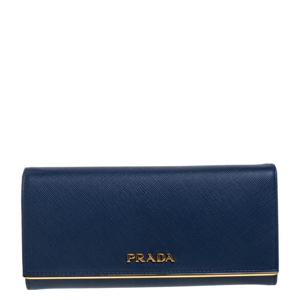 Prada Blue Saffiano Lux Leather Continental Flap Wallet