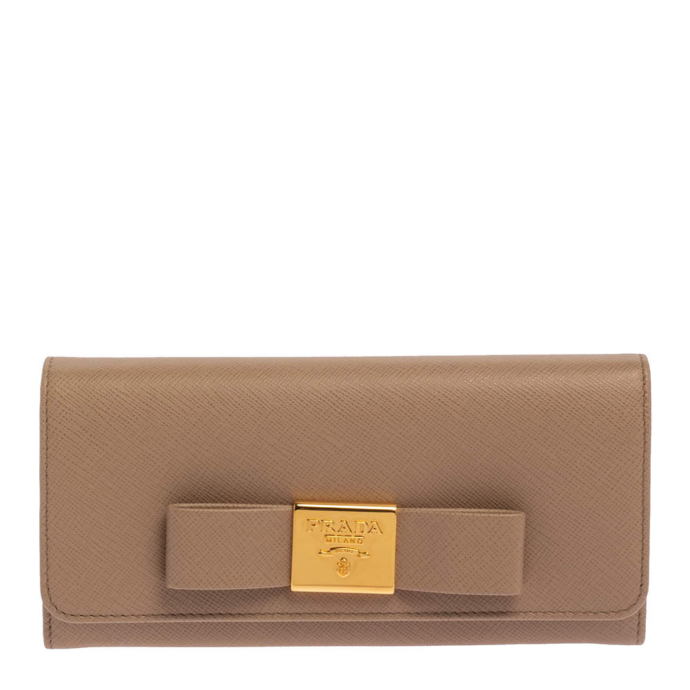 Prada Beige Saffiano Leather Bow Continental Wallet