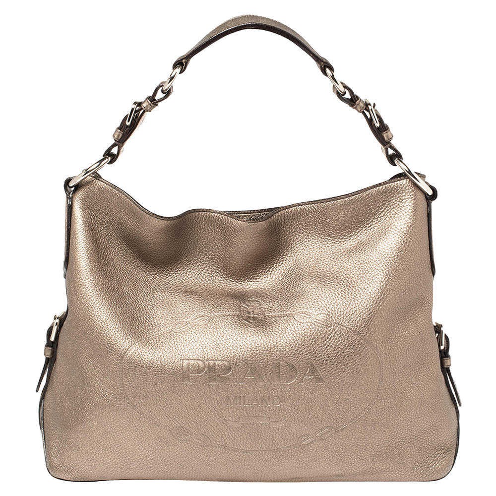 Prada Metallic Vitello Grain Leather Logo Embossed Hobo
