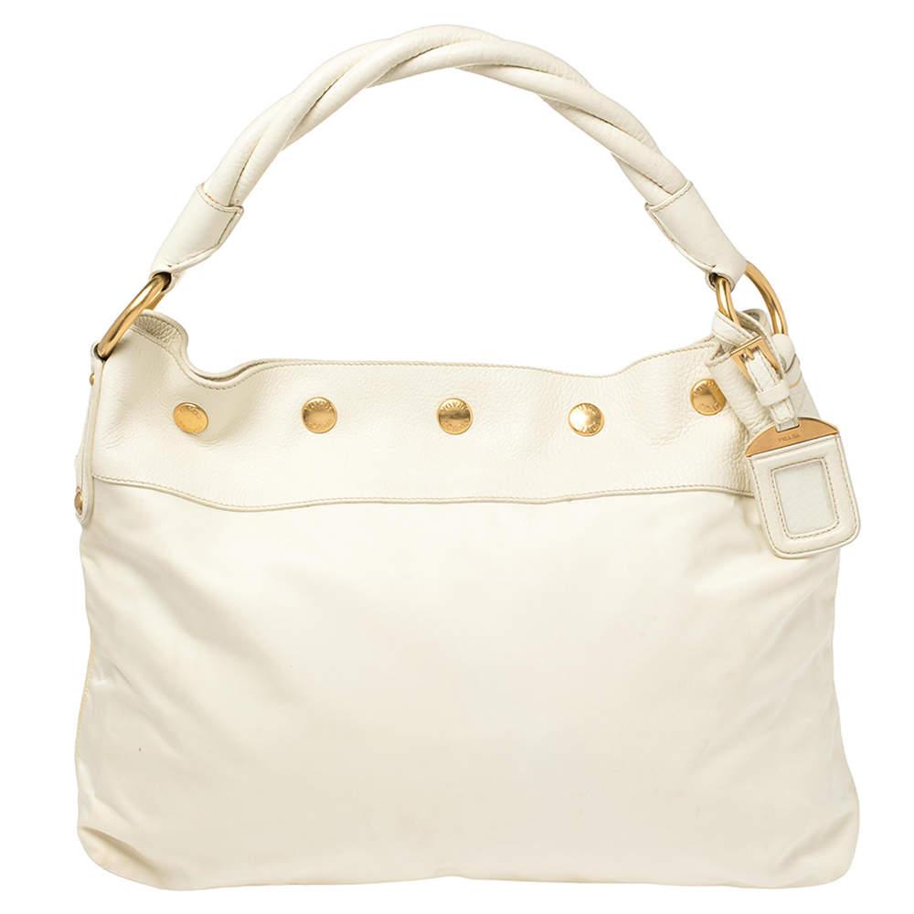 Prada White Nylon and Leather Braided Handle Hobo