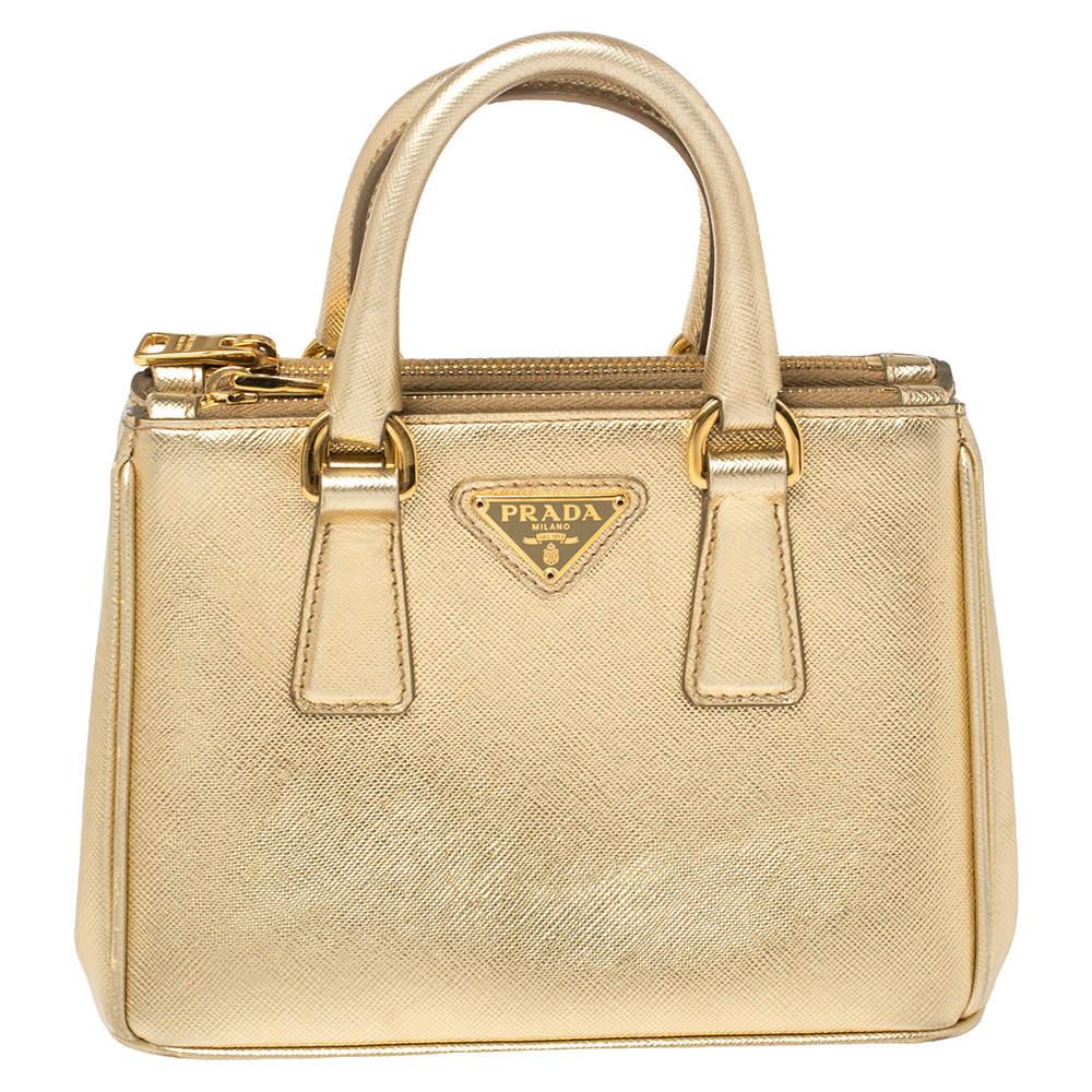 Prada Gold Saffiano Lux Leather Galleria Mini Bag
