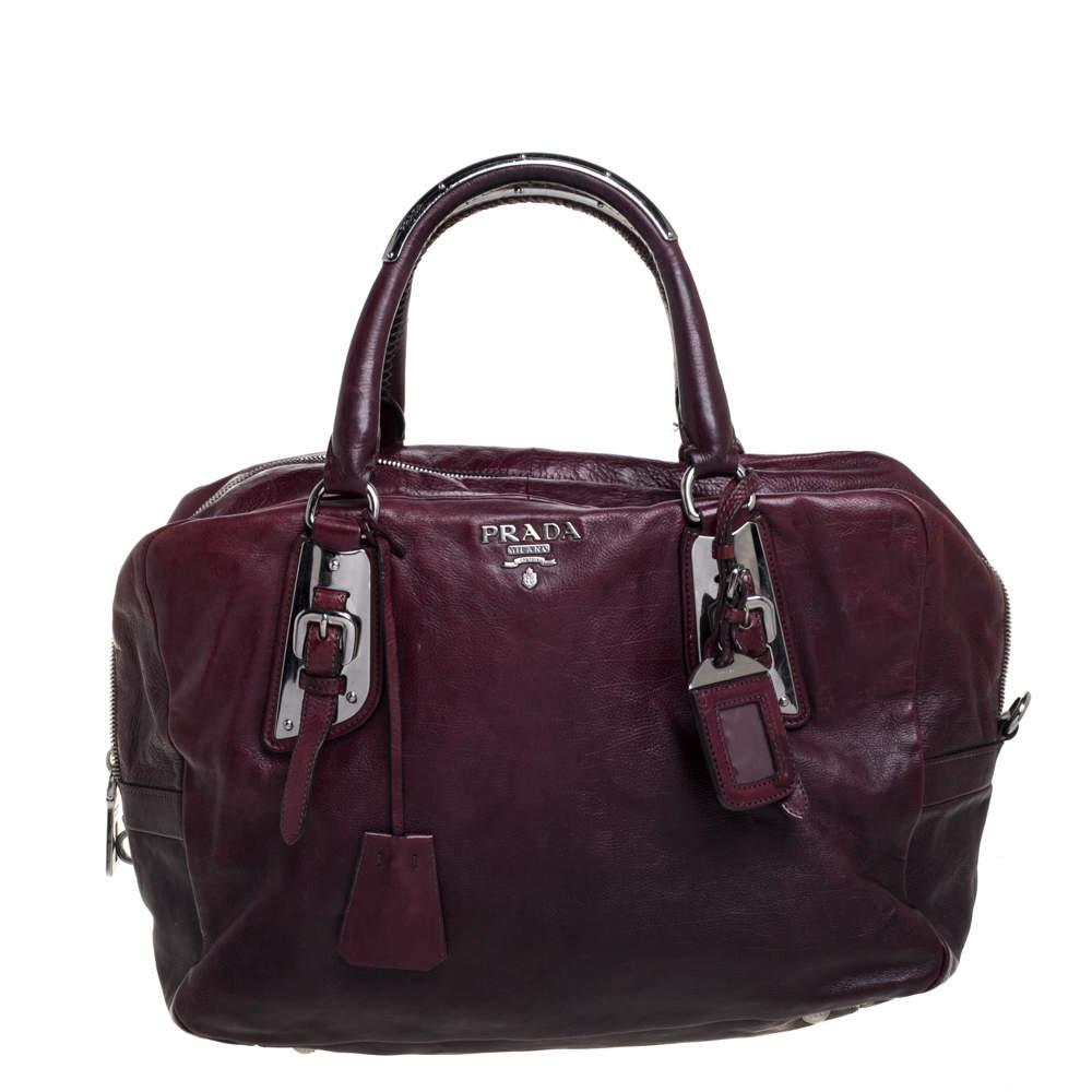Prada Ombre Burgundy Leather Satchel