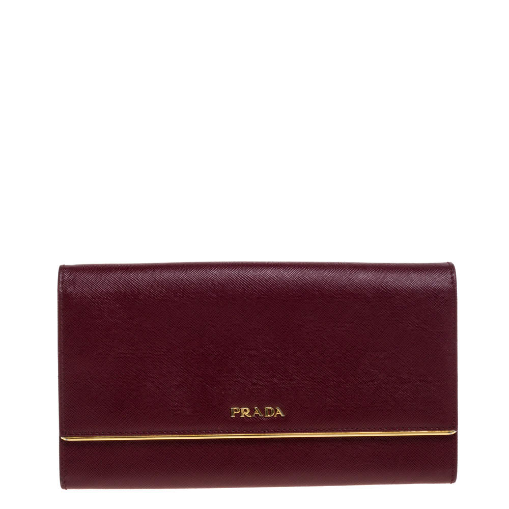 Prada Maroon Saffiano Leather Metal Detail Clutch