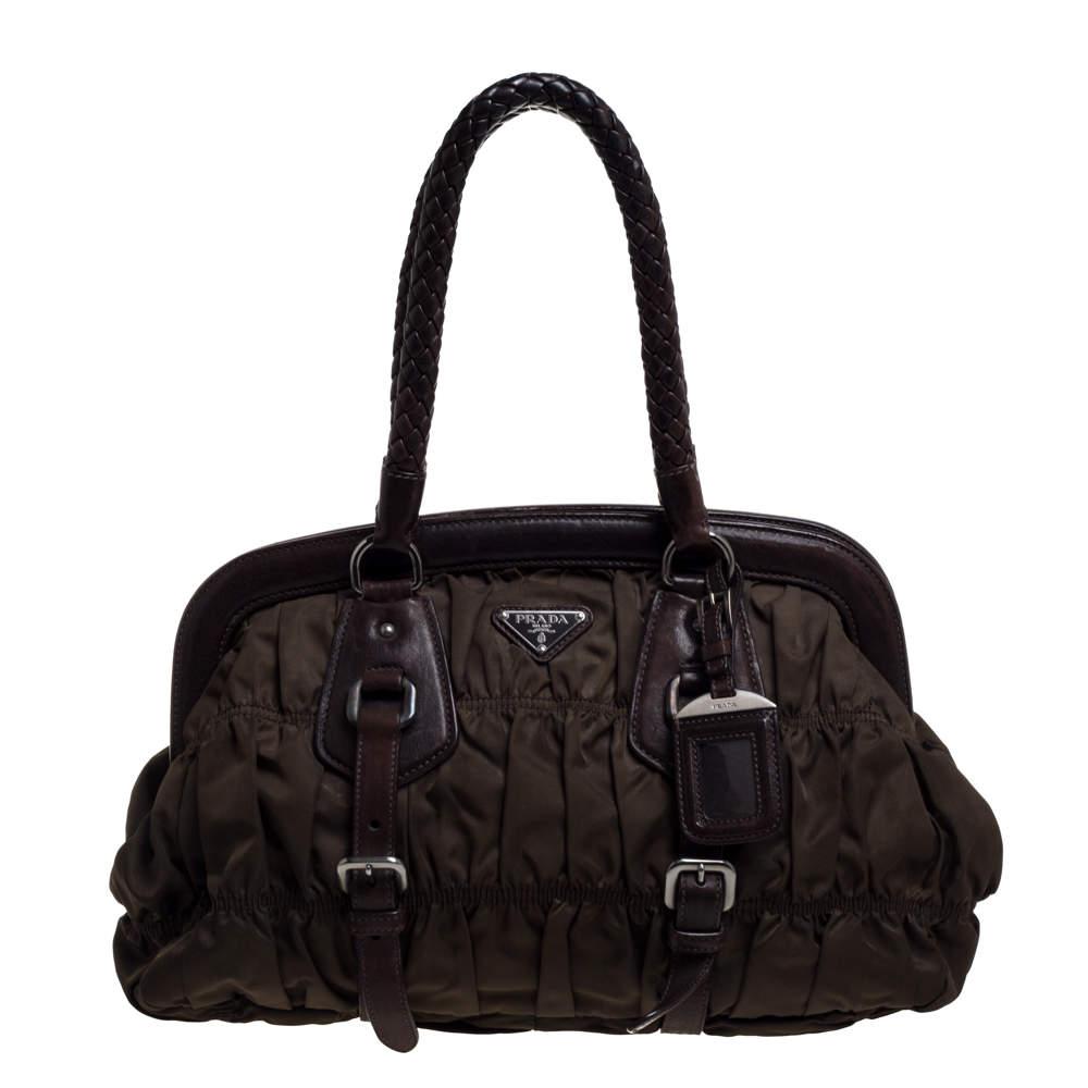 Prada Green/Brown Tessuto Gaufre Nylon And Leather Framed Satchel