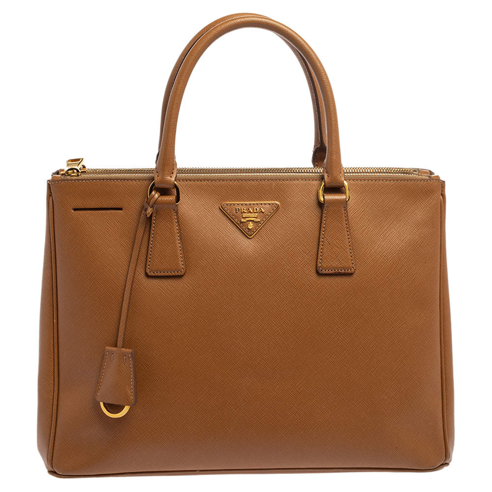 Prada Tan Saffiano Lux Leather Medium Galleria Double Zip Tote