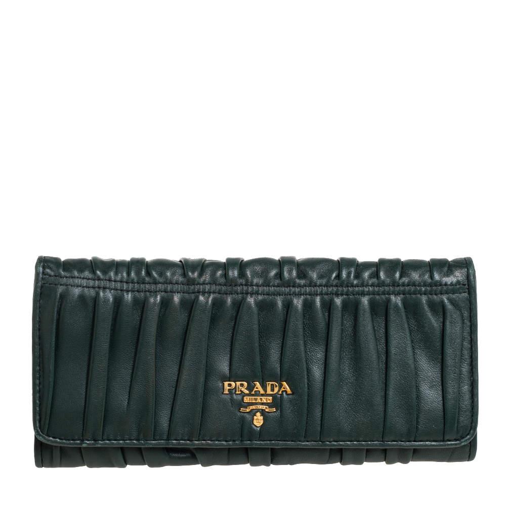 Prada Green Gaufre Nappa Leather Continental Wallet