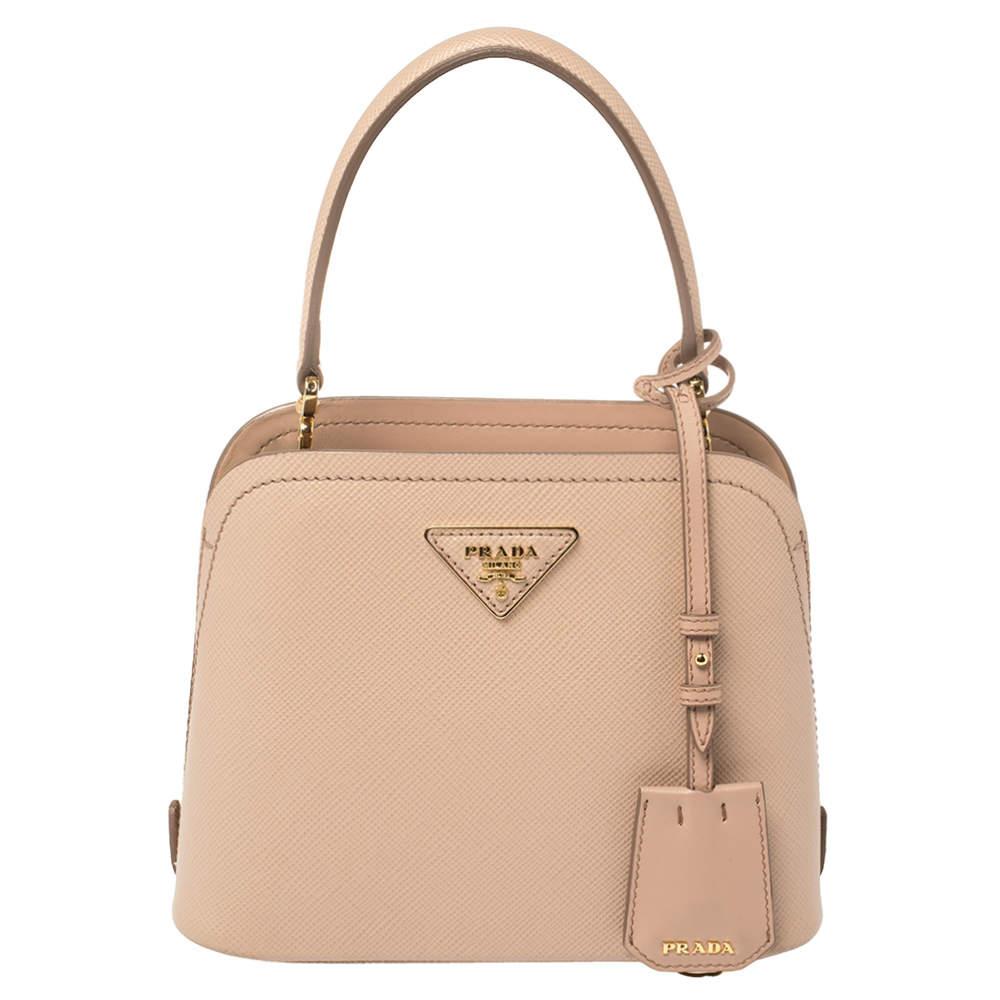 Prada Beige Saffiano Lux Leather Micro Matinée Top Handle Bag