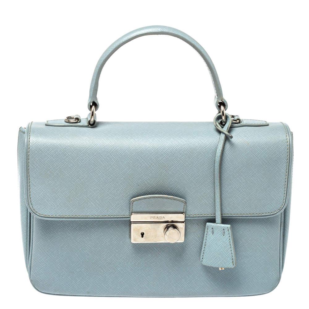 Prada Light Blue Saffiano Leather Sound Top Handle Bag