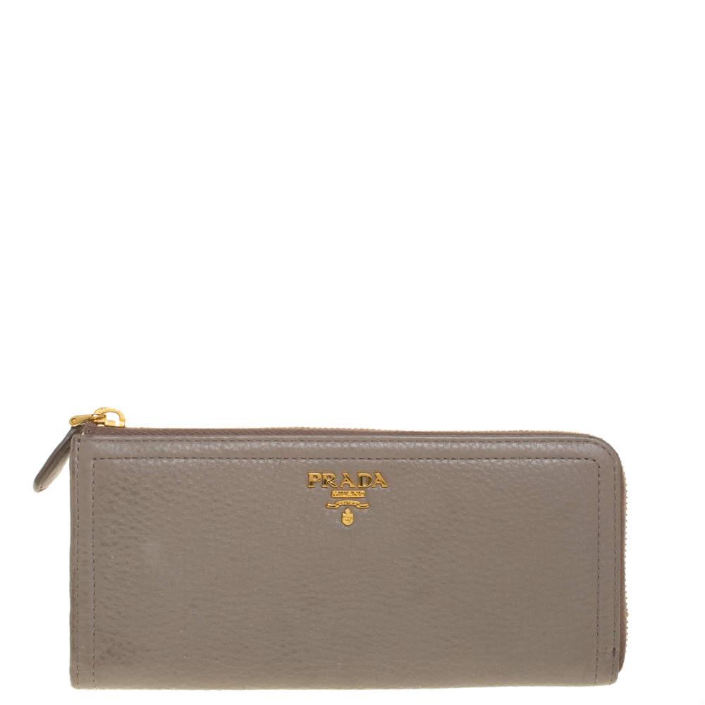 Prada Taupe Leather Zip Around Wallet