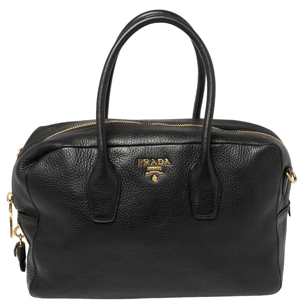 Prada Black Leather Bauletto Satchel