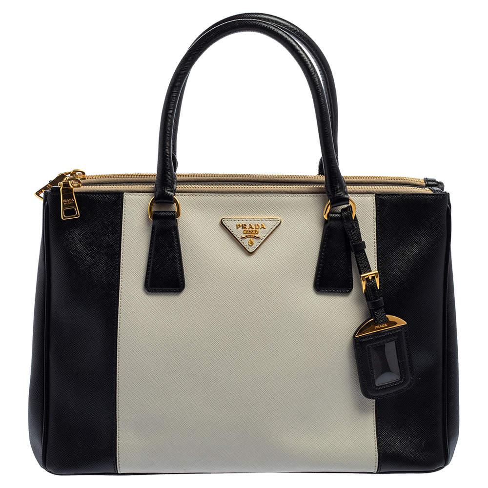 Prada Black/White Saffiano Lux Leather Medium Galleria Tote