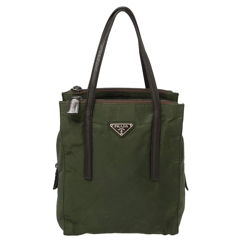 Prada Green Nylon And Leather Tote