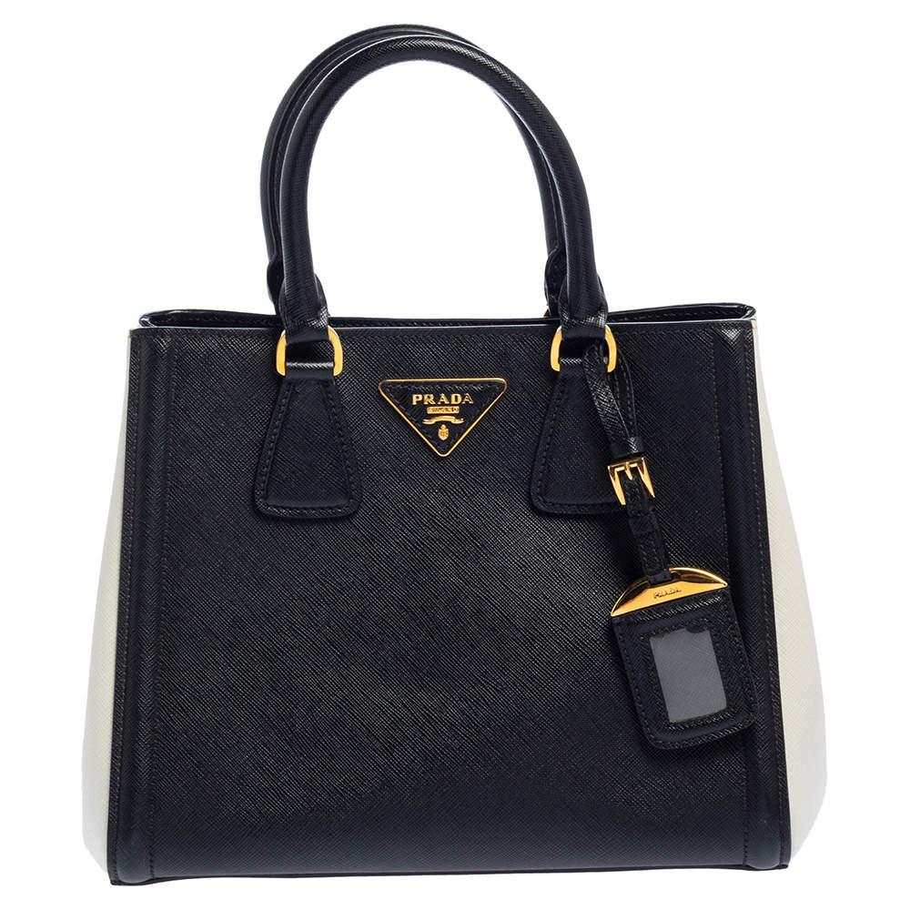 Prada Black/White Saffiano Lux Leather Tote