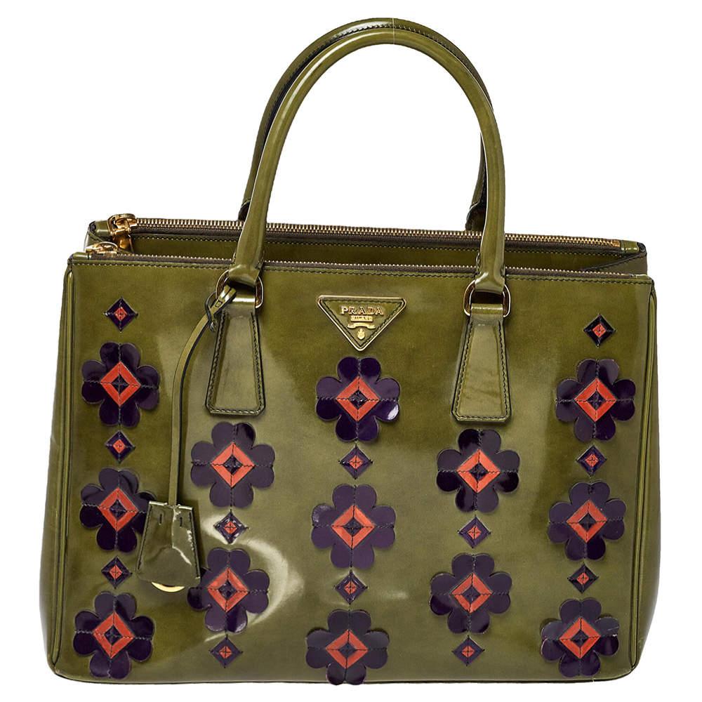 Prada Green Floral Applique Patent Leather Medium Double Zip Tote
