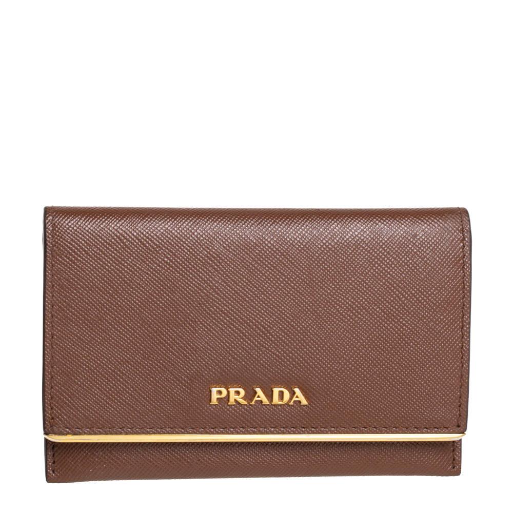Prada Tan Saffiano Leather Flap Metal Card Holder