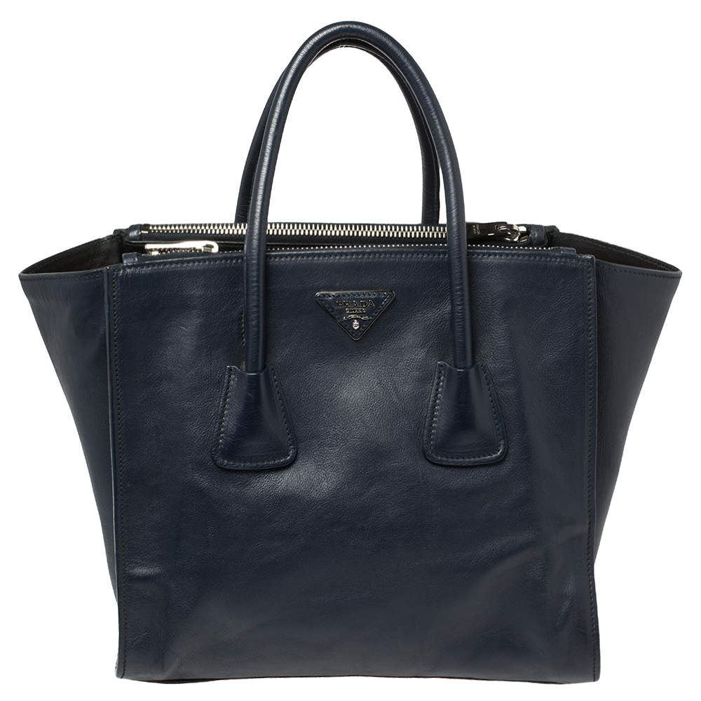 Prada Navy Blue Leather Twin Pocket Tote