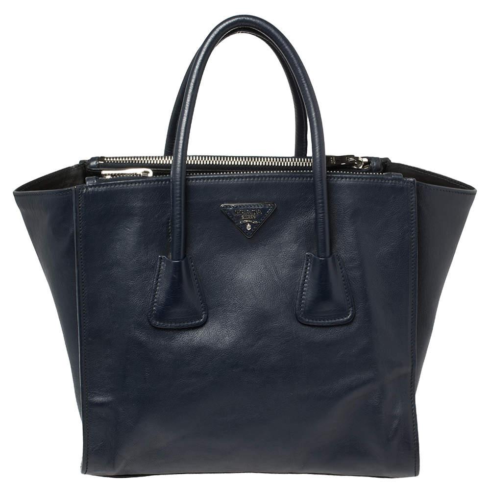 حقيبة يد برادا جيبين متماثلين جلد أزرق كحلي