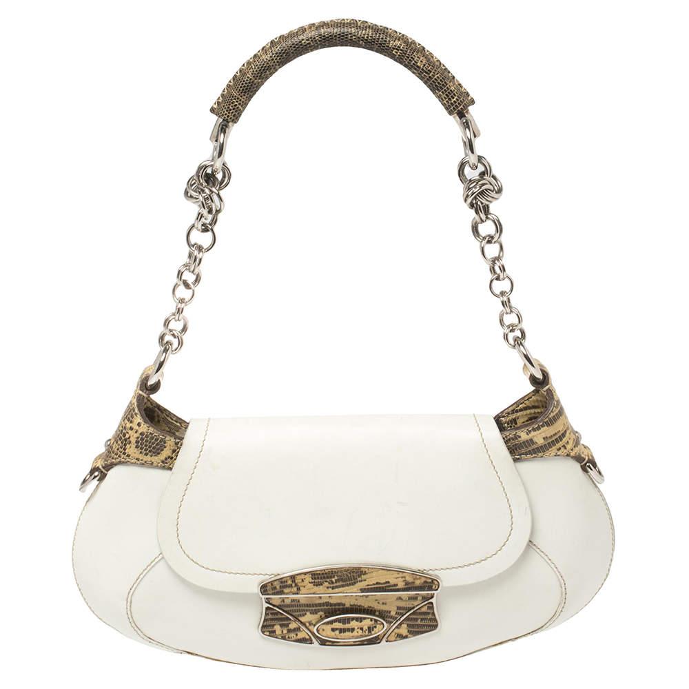Prada White/Beige Lizard and Leather Baguette Bag