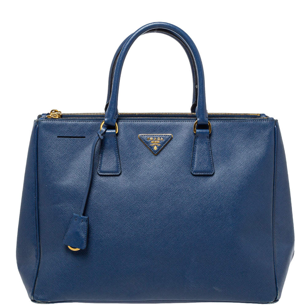 Prada Blue Saffiano Lux Leather Large Double Zip Tote