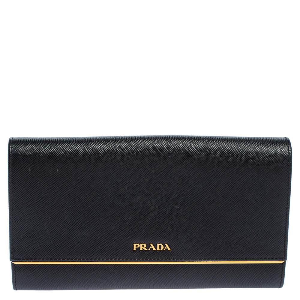 Prada Black Saffiano Lux Leather Metal Bar Flap Clutch