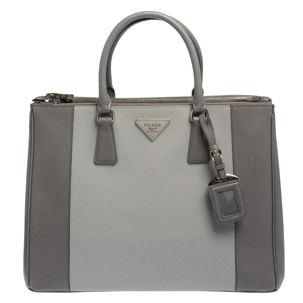 Prada Grey Two Tone Saffiano Lux Leather Large Double Zip Tote