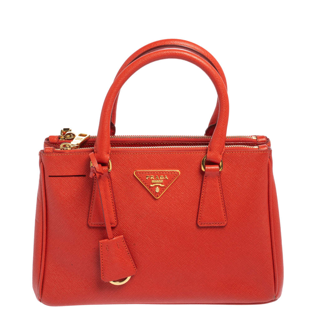 Prada Flame Saffiano Lux Leather Small Double Zip Tote