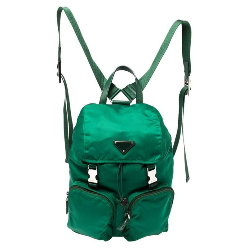 Prada Green Tessuto Nylon Zainetto Backpack