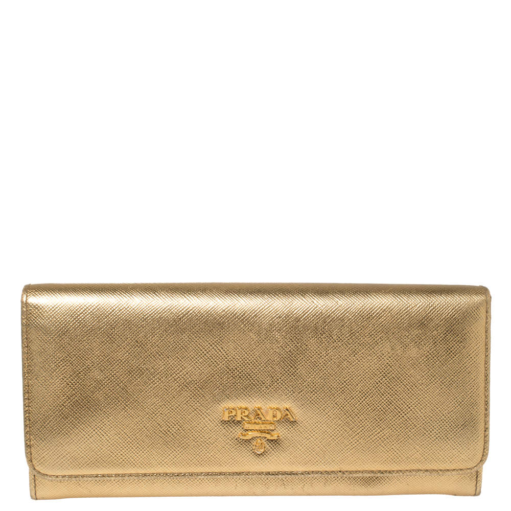 Prada Metallic Gold Saffiano Leather Flap Continental Wallet