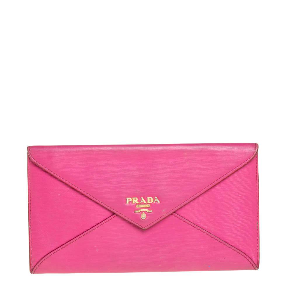 Prada Pink Leather Envelope Wallet